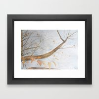 Watercolor under the trees Framed Art Print