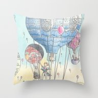 Hot Air Balloon Party Throw Pillow