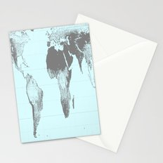 World Map : Gall Peters Aqua Stationery Cards