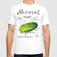 Watercolor cucumber Mens Fitted Tee White SMALL