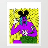 SMOKE.   (Mouseketeer).  (On Yellow). Art Print