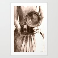 Girl With Camera Art Print