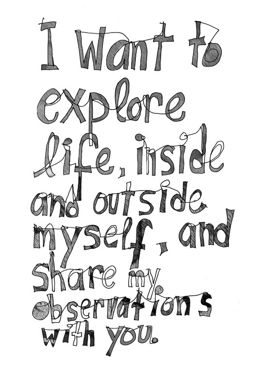 I want to explore life, inside and outside myself, and share my observations with you Art Print