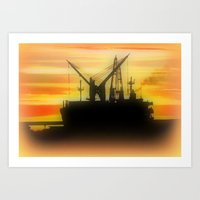 Silhouette Of A Ship Art Print