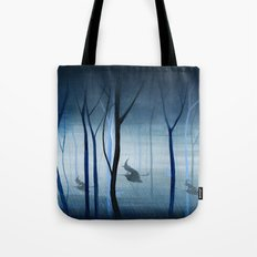 Witches Flying Low Through the Woods Tote Bag