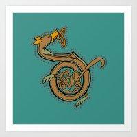 Celtic Hound Letter D Art Print