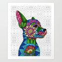 Folk Art Puppy Art Print