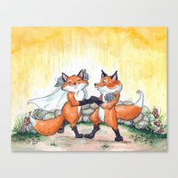 Fox Wedding  Canvas Print