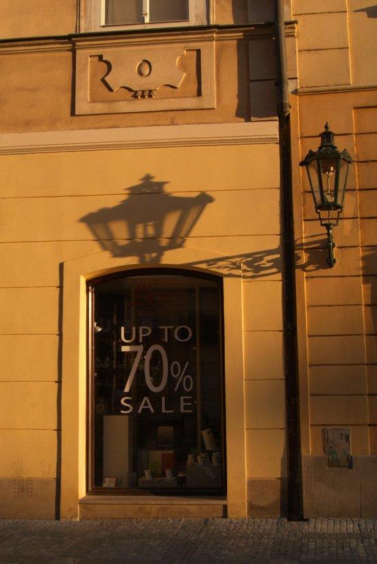 Streetlamp and Shadow, Prague Art Print