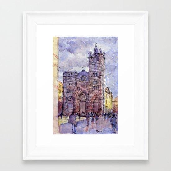 Cattedrale di Genova (Italy) schizzo di studio a colori Framed Art Print