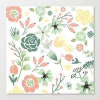 Floral pastel pink and green  Canvas Print
