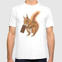 Super Squirrel. Mens Fitted Tee White SMALL
