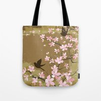 Cute Birds and Cherry Blossoms Tote Bag
