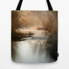 Foggy Alum Creek on a chilly fall morning Tote Bag