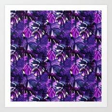 Palm Leaf Blue Purple Art Print