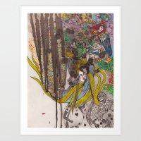 Alice in Wonderland - Strange Dreams / Original A4 Illustration / Ink & Watercolor Art Print