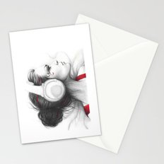 MUSIC - pencil portrait girl in headphones Stationery Cards