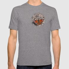 Peacock Butterfly Mens Fitted Tee Tri-Grey SMALL