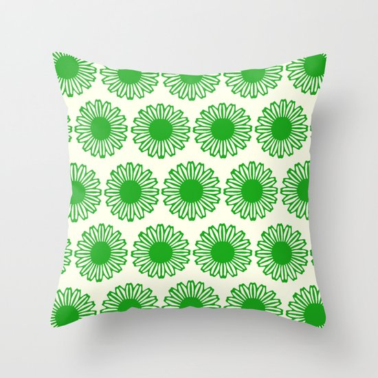 Vintage Flower_Green Throw Pillow