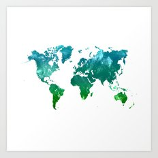 Green watercolor world map Art Print
