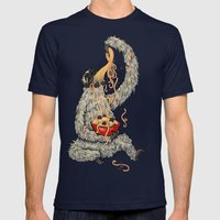 Three Toed Sloth Eating … Mens Fitted Tee Navy SMALL