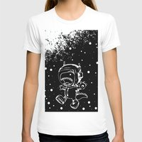 DINOSAUR IN SPACE! Womens Fitted Tee White SMALL