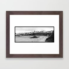 Tenby Harbour.Panoramic.B+W. Framed Art Print
