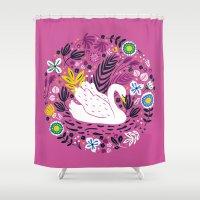 Delightful Swan Shower Curtain