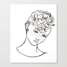 Young girl head Canvas Print