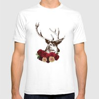 Stag, deer, flowers, vintage, roses, rustic Mens Fitted Tee White SMALL