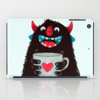 Demon with a cup of coffee (contrast) iPad Case