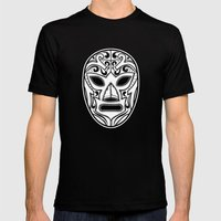Mexican Wrestling Mask Mens Fitted Tee Black SMALL