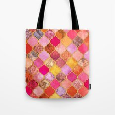 Hot Pink, Gold, Tangerine & Taupe Decorative Moroccan Tile Pattern Tote Bag
