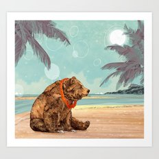 Beach Bear Art Print