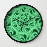 Wall Clock featuring Fractal Web In Flouresce… by Charma Rose