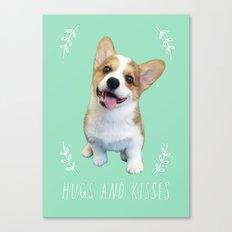 Geordi the corgi, hug and kiss Canvas Print