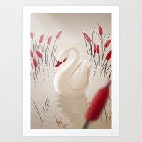 Sad Swan Art Print