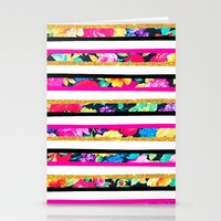 Neon floral pattern pink gold glitter stripes Stationery Cards