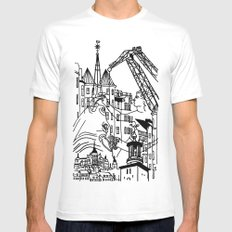 Three City Silhouettes White SMALL Mens Fitted Tee