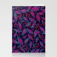 RED BERRIES PINK LEAVES Stationery Cards