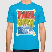 FAKE GEEK GIRL Mens Fitted Tee Teal SMALL
