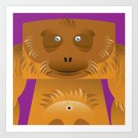 Furry Ape Art Print