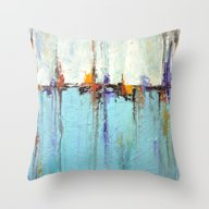 Abstract White And Blue … Throw Pillow
