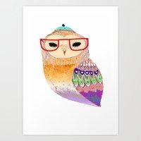 Pretty Awesome owl Art Print