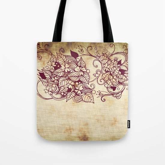 Flower hearts, Red earth on yellow Tote Bag