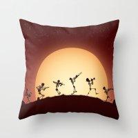 Dixieland Skeletons Throw Pillow