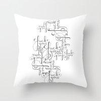 Cursive Cursing Throw Pillow