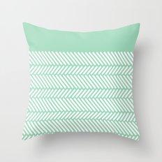 Herringbone Mint Boarder Throw Pillow