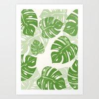 Linocut Leaf Pattern Art Print