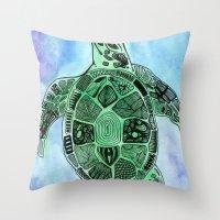 Tatoo Sea Turtle Throw Pillow